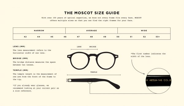 Moscot size guide
