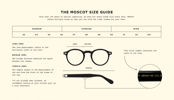 Moscot storleksguide
